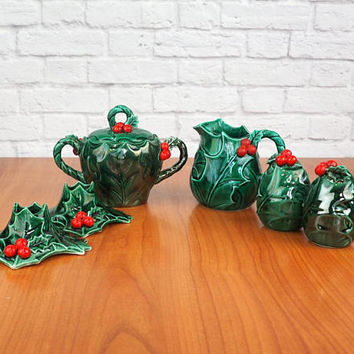 LEFTON Holly Leaf Christmas Hostess Set | Cream and Sugar, Salt and Pepper Shakers, Candlestick Holders