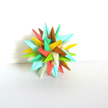 "Modular Origami Ball 4"", Christmas Ornament, Paper Sculpture, Spiky Geometric Summer Colors"