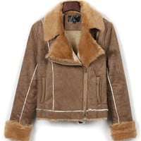 Brown Lapel Suedette Faux Fur Trim Coat