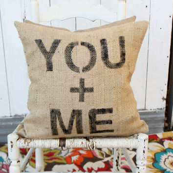 YOU plus ME Burlap & Chevron 18 Hand Painted by MySwallowsNest