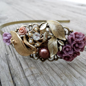 Adult Headband Shabby Chic Gold Vintage Inspired Women Metal Headband Vintage Inspired Hair Accessory  Bridesmaid Fancy Headband