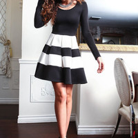 MOD STRIPED PLEATED DRESS