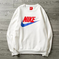 NIKE New Fashion Letter Hook Print Couple Sports Leisure Thick Keep Warm Long Sleeve Top Sweater White