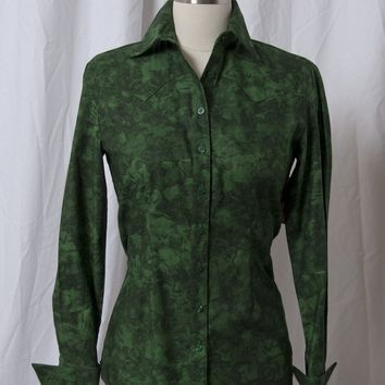 Women's Marbled Green Western Shirt