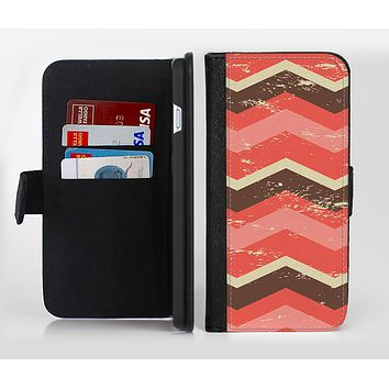 The Coral & Brown Wide Chevron Pattern Vintage V1 Ink-Fuzed Leather Folding Wallet Credit-Card Case for the Apple iPhone 6/6s, 6/6s Plus, 5/5s and 5c