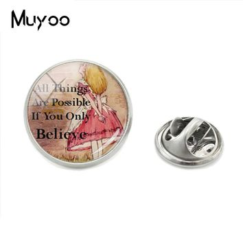 New Arrival Fashion Vintage Style Alice in the Wonderland Photos Brooch Pins Jewelry Glass Round Dome Shirt Collar Pins For Men