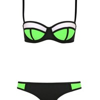 Fashion Womens Push Up Two Piece Sexy Biniki Swimsuit Triangl Beachwear (M(US4-6), Green+Black+White)