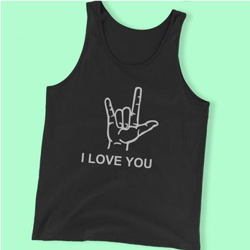 I Love You American Sign Language Valentines Day Men'S Tank Top