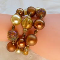 Vintage Vendome Bracelet Triple Strand Lucite Glass Beads Acorn Leaves Fall Jewelry