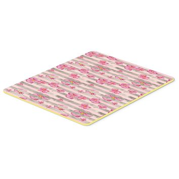 Watercolor Pink Flowers Grey Stripes Kitchen or Bath Mat 20x30 BB7502CMT