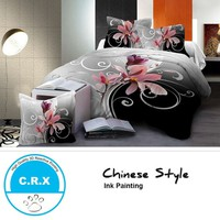 Chinese Ink Painting Printing Bed Linen Duvet Cover Set Quilt Cover Bed Sheet Queen Size Bedding Set