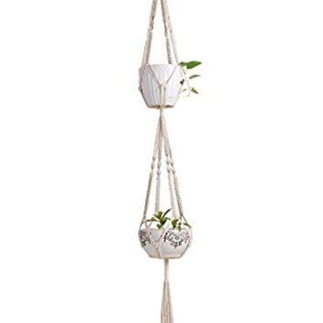 Mkono Macrame Double Plant Hanger Indoor Outdoor Hanging Planter Cotton Rope 4 Legs 67 Inch
