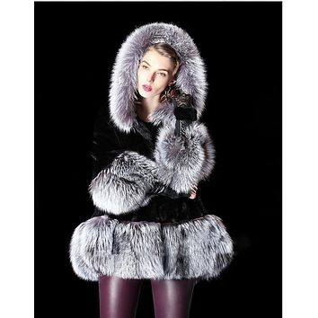 Plush Luxurious Hooded Faux Fur Swing Coat