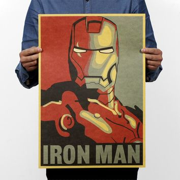 Marvel Hero Iron Man Vintage Kraft Paper Movie Poster Magazine Home Decor Wall Decals Art Removable Retro Painting