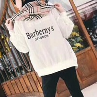 """Burberry"" Women Fashion Letter Multicolor Tartan Hooded Long Sleeve Zip Cardigan Coat Casual Sun Protection Clothing"
