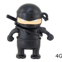 4 GB Ninja with Gun Design USB Flash Drive (Black)