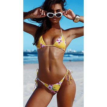 Surfside Bikini Yellow Cherry Blossom Floral Print