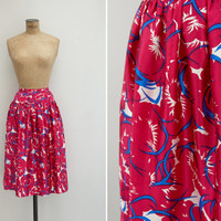 1940s Skirt - Vintage 40s Hot Pink Novelty Print Skirt - Only Forever Skirt