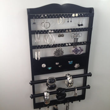 Double Deluxe Jewelry Organizer Bracelet Holder, 25 x 14, Earring Rack, Ring Holder Necklace Dispaly, Bangle Rod, Wall, Solid Oak Hardwood