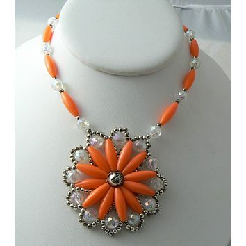 Orange Bead Squash Blossom Necklace