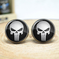 PUNISHER Cufflinks,Skull Cufflinks,gift for him,Men Accessories (1 pair)