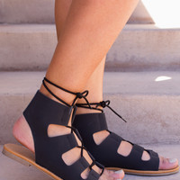 Marielle Lace Up Sandals - Black