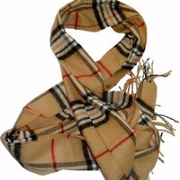 Amazon.com: Cashmere Feel Light & Warm Plaid Camel Scarf: Clothing