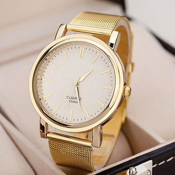 Women's Quartz Gold Mesh Band Wrist watch (Color: Gold) = 1956767364
