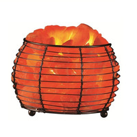 Himalayan Salt Round Basket Lamp