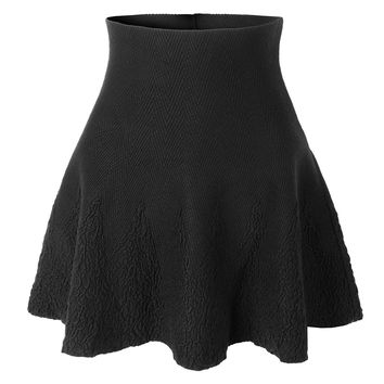 LE3NO Womens Lightweight Spandex Versatile Flared Skirt with Stretch (CLEARANCE)