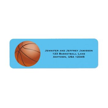 CHOOSE YOUR COLOR Basketball Return Address Labels