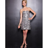 Silver & Black Strapless Sequin Dress