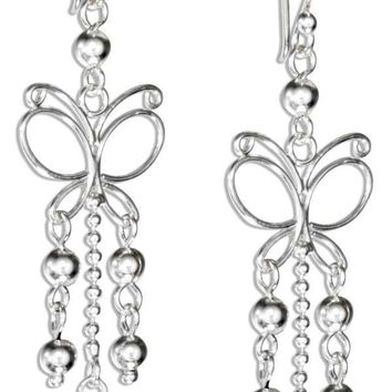 STERLING SILVER WIRE BUTTERFLY EARRINGS WITH BEAD DANGLES