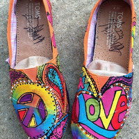 Peace love and paisleys Painted TOMS with BLING