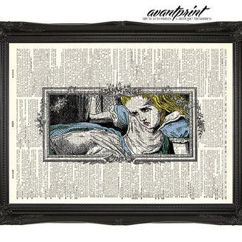 House Getting Smaller Alice in Wonderland Illustrated Print on an Unframed Upcycled Bookpage