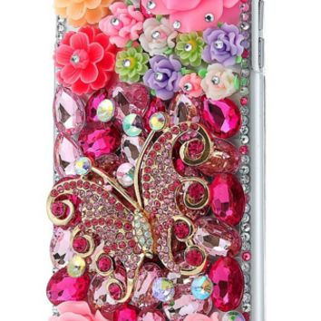 Flower Butterfly Rhinestone Case Handmade Bling Hard Protective Case Cover For iPhone 6 Plus 5.5""