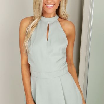 High Neck Pleated Romper Sage