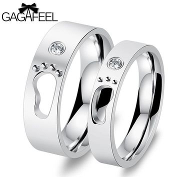 GAGAFEEL Footprint Rings For Women Men Jewelry Stainless Steel Ring For Lovers Couples Never Darken Accessories With CZ Zircon