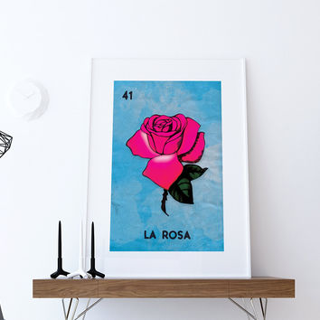Loteria La Rosa Mexican Retro Illustration Art Print Vintage Giclee on Cotton Canvas and Paper Canvas Poster Wall Decor