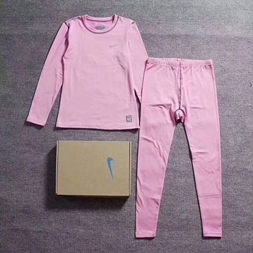 NIKE Women Top Sweater Pullover Pants Trousers Pajamas Set Two-Piece