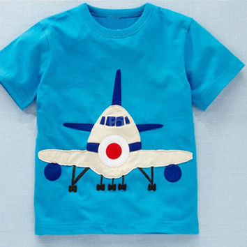 brand 2017 new fashion kids clothing 100% cotton blouse children's clothes baby boy t shirts boy's top tee cartoon airplane