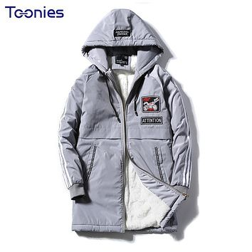 Strip Wool Liner Jacket Men Plus Size Long Coat Cotton Fleece Thick Warm Winter Jacket Loose Male Coat Solid High Quality 4XL
