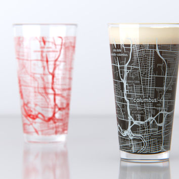 Columbus, OH - Ohio State - College Town Map Pint Glass Set