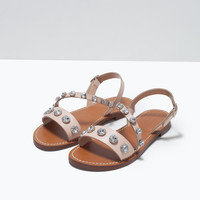 Jewelled leather sandals