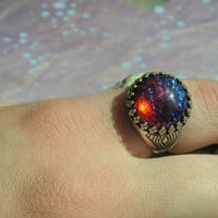 Fire Opal Ring in Sterling Silver ox Crowned Setting adjustable