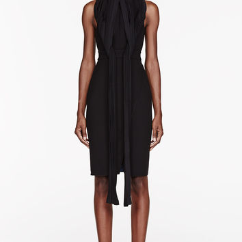Dion Lee Black Crepe Cut Away Pleated Knot Dress