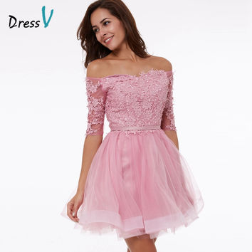 Dressv peach A-line homecoming dress off the shoulder appliques half sleeves above knee homecoming dress short graduation dress