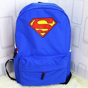 Bellevue Fashion superman logo backpack nylon backpacks superman school bag rucksack knapsack (Color Blue) = 1946031364
