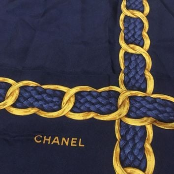 "Chanel Navy Blue/Gold Patterned Silk Ladies/Women's 34""x34"" Scarf Made In Italy"