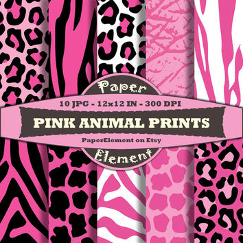 Pink Animal Print Digital Paper Pack - Wild Animal Scrapbook Paper Patterns